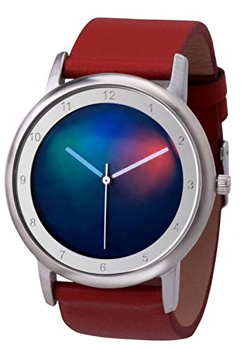 Rainbow Watch Unisex Uhr Quarz Avantgardia Light mit rotem Echtleder Armband