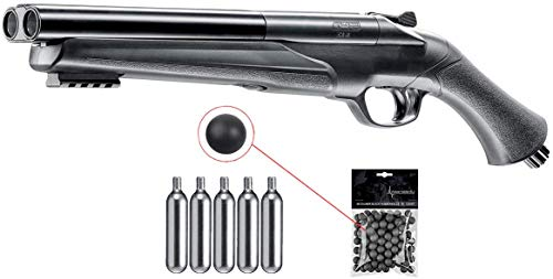 Umarex T4E HDS Shotgun .68 Caliber Training Pistol Paintball Gun Marker with Pack of 50x .68 Reusable Black Rubber Balls and 5x12gr CO2 Tank Bundle