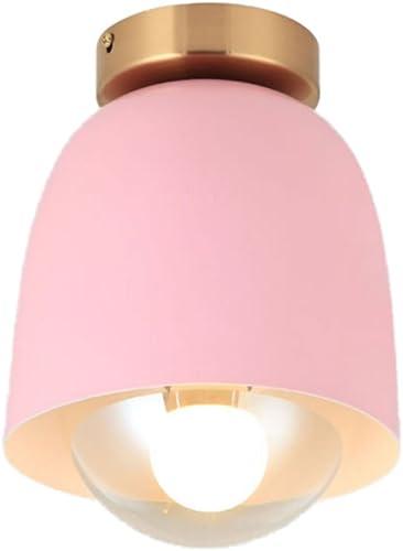 Lampe de plafond minimaliste moderne nordique, suspension en verre forgé, salon chambre à coucher boutique lustre, E27 (Couleur   rose)