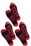 Clark Crown 1 o 3 pares de calcetines para hombre con frases divertidas, divertidos calcetines de regalo negro/rojo – 3 rock en rollo. Talla única
