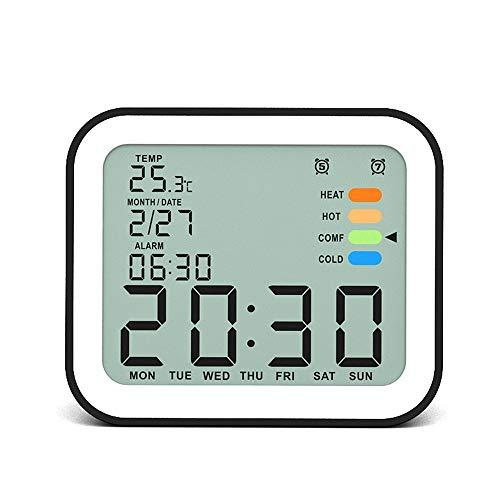 InChengGouFouX Digitale wekker, met groot led-display, dimmer, met nachtlampje, werkt op batterijen