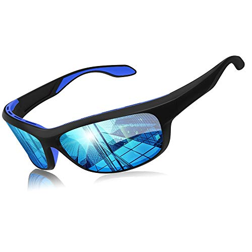 Elegear Gafas de Sol Hombre Polarizadas Gafas deportivas Súper Ligero y Cómodo Anti UVA UV Marco TR90 Lente Espejo con REVO Gafas hombre y mujer Ciclismo MTB Running Coche Moto Montaña (Blue)