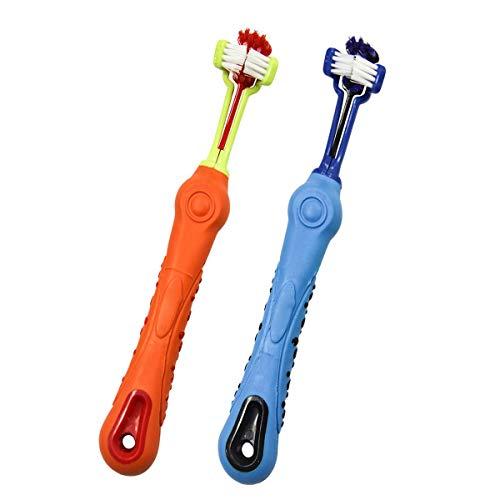 ICEBLUEOR Haustier-Zahnbürste, dreiseitig, für Hunde/Katzen, Zahnbürste, Zugabe von Mundgeruch, Zahnstein, Zahnpflege, Hund und Katze, 2 Stück