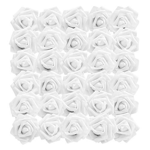 BELLE VOUS Rosas Artificiales (50Pcs) - Flores Artificial de Aspecto Real - Falsas de Blanco Rosas con Tallo 19cm para Bricolaje Ramos Boda, el Jardín Hogar Decor, Florales Arreglos, Centros de Mesa
