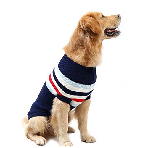 Gaorui Haustier Hund Rollkragenpullover Strickpullover Warm Sweater Winterjacke Pullover Streifen Medium Large