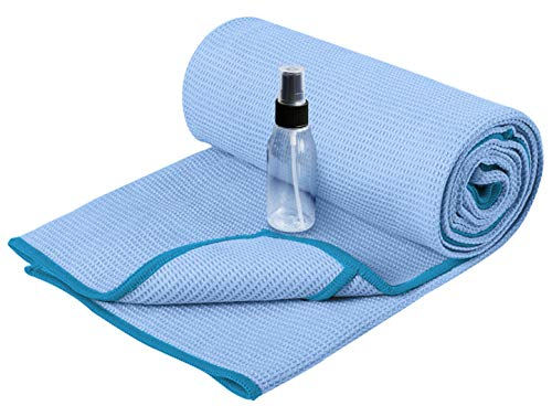 Heathyoga Non Slip Yoga Towel (183cmx66cm),Exclusive Corner Pockets Design, Microfiber and Silicone Coating Layer,Free Carry Bag and Spray Bottle, Perfect for Hot Yoga,Bikram and Pilates towel(Grey)