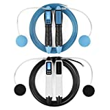 2 Cuerdas de Saltar Digitales, Ajustable- sin Cable Cuerda de Velocidad con Pantalla LCD Contador de calorías| Ideal para Crossfit, MMA Boxeo, Fitness, Ejercicio| Casa o Gimnasio Entrenamiento.