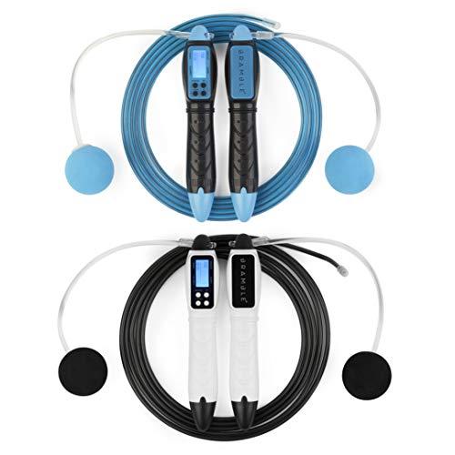 2 Premium Corde per Saltare Digitali con Calorie Conta - Corda Salto con Manico Ergonomico| Utilizzata con o Senza il Cavo| Ideale per attività Crossfit Boxe Fitness Casa Palestra Allenamento.