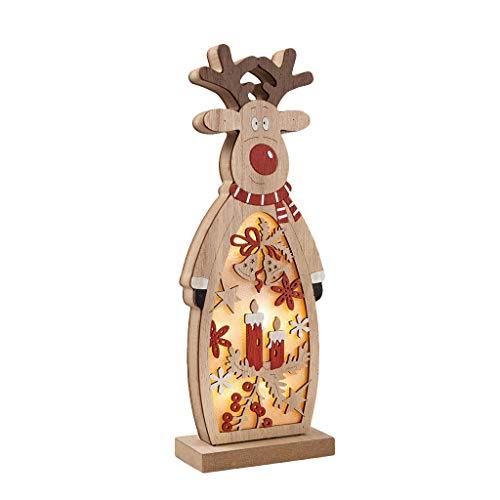 Zegeey Weihnachtsschmuck Weihnachtsdeko Holz LED beleuchtet Elch Schneemann Nachttischlampe Basteln 1 Stück(B,26.5x9.8x5cm)