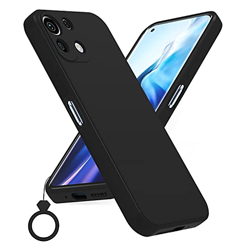 PULEN Funda para Xiaomi Mi 11 Lite 4G / 5G, Silicona Carcasa con Uno Silicona Dedo Anillo, Anti-Choques, Anti- Arañazos,Slim Delgada,Tacto Suave - Negro