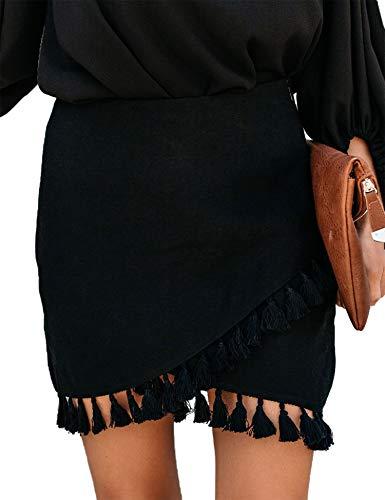 Relipop Women's Skirts High Waist Wrap Front Tassel Hem Solid Short Mini Skirt Black