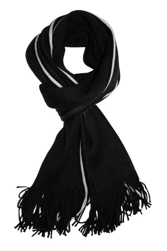 Marco Collection - Echarpe - - À rayures Homme Noir Black Purple