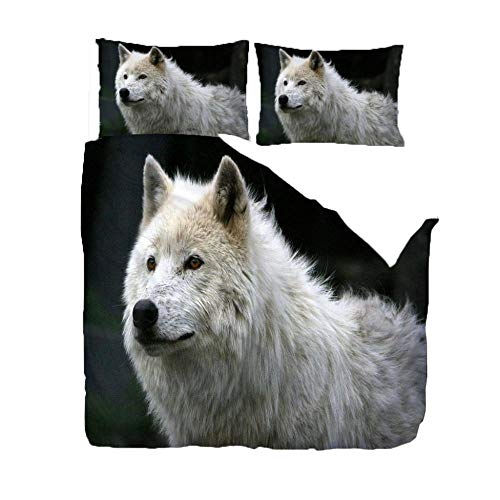 Duvet Cover Set 3D Print 230X220Cm/90.5X86.5 Inches Dazed Animal Wolf Ultra Soft Fashion Quilt Cover For Adult, Kids And Teens (1 Duvet Cover + 2 Pillowcases)