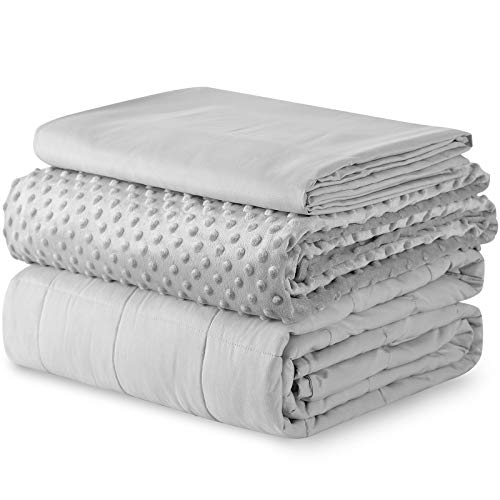 YnM Weighted Blanket and Duvet Covers — Hot and Cold Duvet Cover Set (3 Pieces) — (Light Grey, 80''x87'' 20lbs), Two Persons(90~160lb) Sharing Use on Queen/King Bed