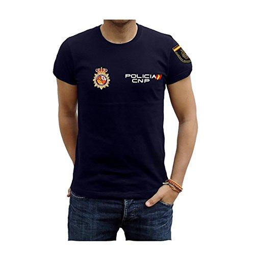 Piel Cabrera Camiseta de policia Nacional (M, Azul Marino)