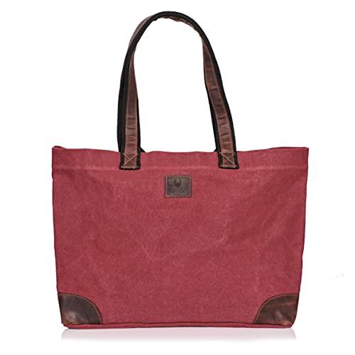 DONBOLSO® Athen Shopper I Einkaufstasche aus Canvas mit Leder I Saunatasche I...