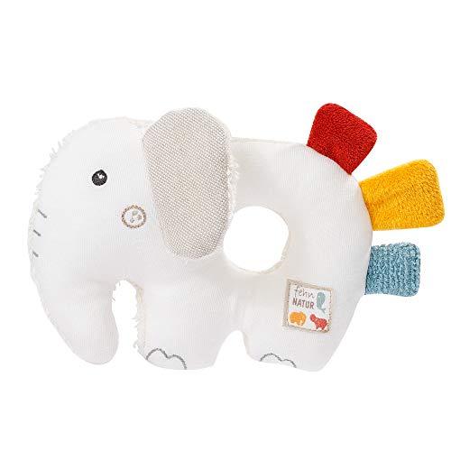 Fehn 056075 Ring-Greifling Elefant fehnNATUR – Bio-Babyspielzeug mit Rassel und Raschelpapier für Babys und Kleinkinder ab 0+ Monaten – Größe: 14 cm