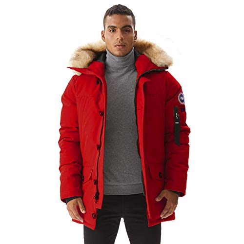 PUREMSX Men's Down Alternative Jacket Insulated Expedition Mountain Thicken Lined Fur Hooded Long Anorak Parka Padded Coat,Red,Small