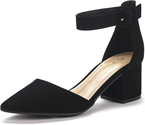 DREAM PAIRS Women's Annee Black Nubuck Low Heel Pump Shoes - 8 M US