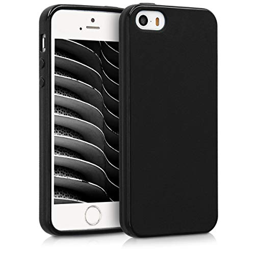 kwmobile Cover Compatibile con Apple iPhone SE (1.Gen 2016) / 5 / 5S - Custodia in Silicone TPU - Backcover Protezione Posteriore- Nero Matt