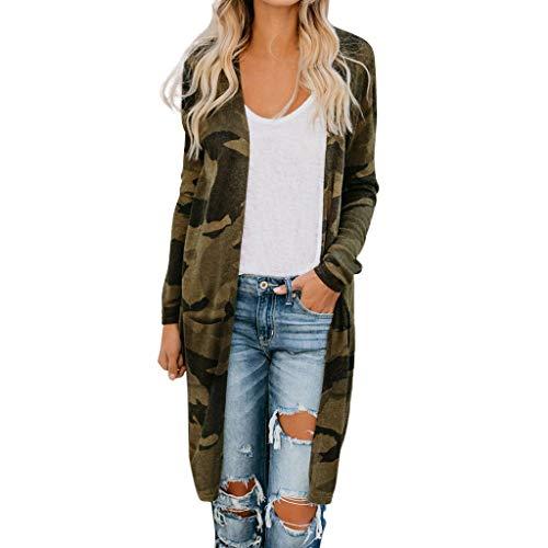 feiXIANG Damen Cardigan Strickjacke,Sweatjacket Camouflage Langarm Mantel Lange Parka Oberbekleidung(Camouflage,5XL)