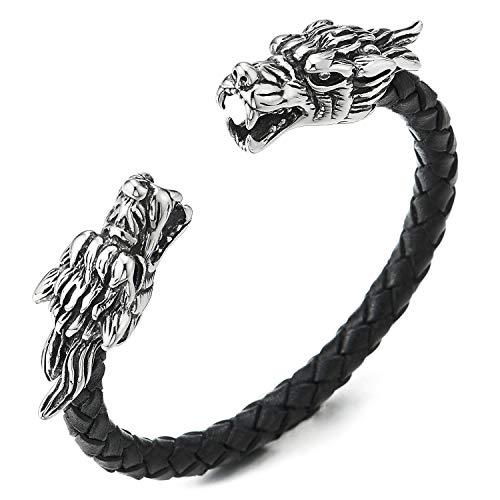 COOLSTEELANDBEYOND Herren Schwarz Geflochtenes Leder Manschettenarmband Armband, Vintage Edelstahl Drachen Kopf mit Zirkonia Verstellbare