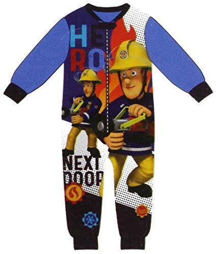 Feuerwehrmann Sam Overall kuscheliger Kinder Jumpsuit Spielanzug Onesie Pyjama Schlafanzug The Hero Next Door Gr.98 104 110 116 122 128 (128)