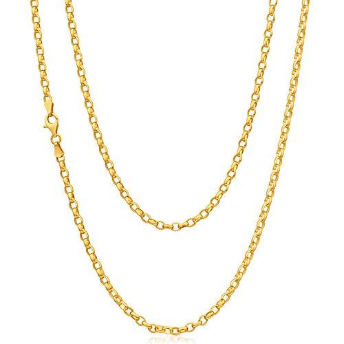 Cadena de oro amarillo de 9 quilates, 5,1 g, 61 cm, apto para hombre o mujer, viene en una caja de regalo de presentación de joyas