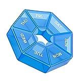 zhibeisai 2 unids/Set Pill Case Plastic 7 Grid Tablet Box Portable Almacenamiento Tablet Holder Organizador de Viaje, Azul