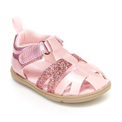 Carter's Every Step Girls' Infant 1st Walker Adalyn Fisherman Sandal First Shoe, Pink, 4 M US Toddler