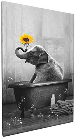 Sunflower Elephant Canvas Wall Art Funny Animal Elephant Bathing In The Bathtub Wall Decor Black product image