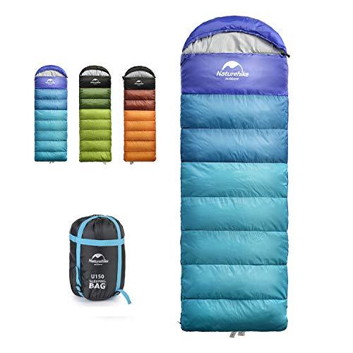 Naturehike - Saco de dormir para camping para adultos y niños, ligero, impermeable, para 3 estaciones, clima cálido y frío, para mochilas, senderismo, interior y exterior, viajes con saco de compresión, color azul
