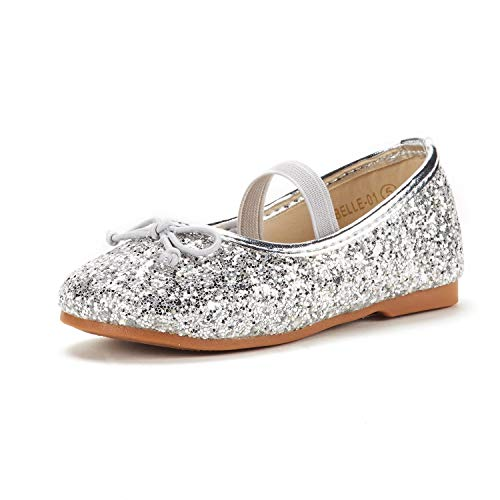 DREAM PAIRS Toddler Belle_01 Silver Girl's Mary Jane Ballerina Flat Shoes Size 7 M US Toddler