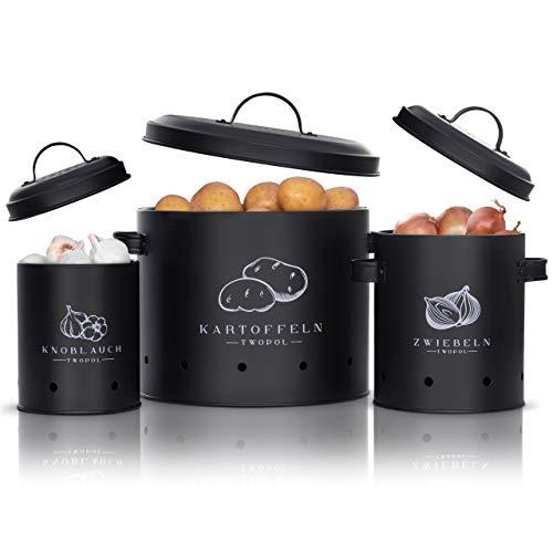 Twopol® Kartoffel Aufbewahrungsbox [3er Set]- mit 360° Luftzirkulation hält Gemüse länger frisch-der ideale Weg für Zwiebel Aufbewahrung Kartoffel Aufbewahrung und Knoblauch Aufbewahrung (Schwarz)