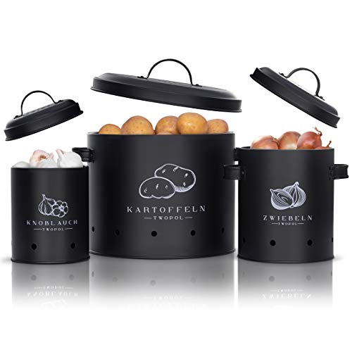 Twopol® Kartoffel Aufbewahrungsbox [3er Set]- mit 360° Luftzirkulation hält Gemüse länger...