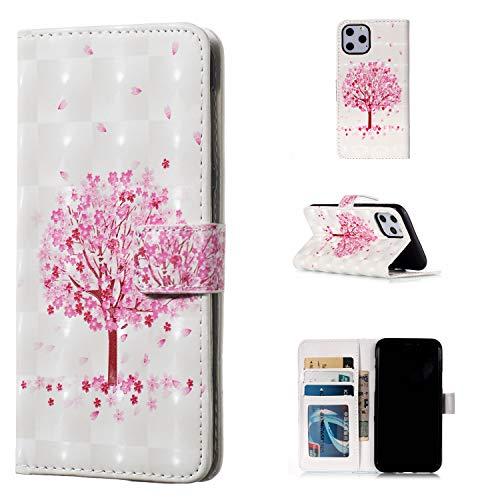 QFUN Leder Hülle für iPhone 11 Pro Max mit Kartenfach,Glitzer Muster [Kirsche Baum] Magnetverschluss Ständer Schutzhülle Fallschutz Handyhülle Schutztasche und Displayschutzfolie