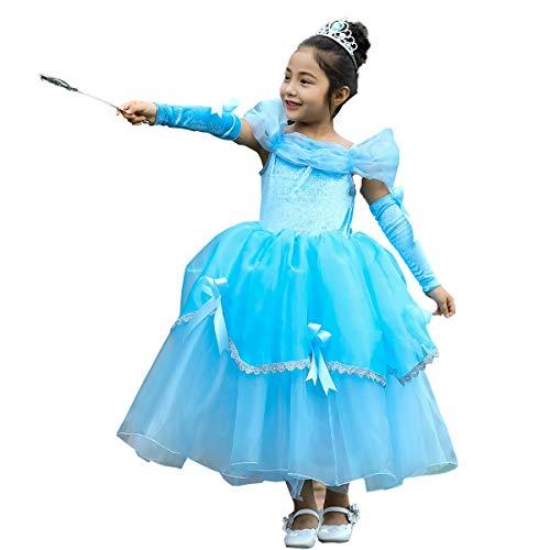 OwlFay Kinder Mädchen Aurora Belle Aschenputtel Sofia Rapunzel Kostüm Prinzessin Kleid mit Armmanschette Märchen Cosplay Festlich Karnerval Halloween Weihnachten Geburtstag Partykleid Kleidung