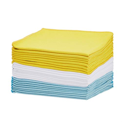 Amazon Basics - Paño de microfibra para cristal, azul, amarillo y blanco, paquete de 24