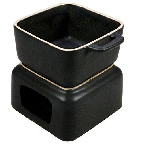 Fondueset Schokofondue Minikäsefondue Soßenwärmer, eckig, Keramik, ca. 11.5 x 11.5 x 12.5 cm, ca. 400 ml, schwarz