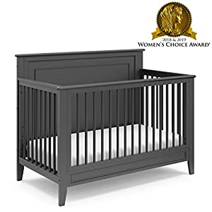 Storkcraft Solstice 4-in-1 Convertible Crib (Gray) – Easily Converts into Toddler Bed, Daybed, or Full-Size Bed
