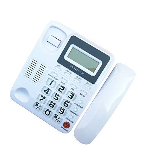 Desktop Phone Office Landline Solucionado Teléfono Identificación de llamadas, Home Hotel Wired Corded Teléfono, Rizante fuerte, Blanco