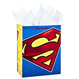 Hallmark 13' Large Gift Bag with Tissue Paper (Superman Logo, Red Foil) for Birthdays, Fathers Day, Halloween, Christmas, Superhero Parties and More