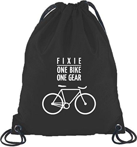 Shirtstreet24, Fixie - One Bike, Fahrrad Bahnrad Turnbeutel Rucksack Sport Beutel, Größe: onesize,Schwarz