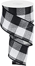 Woven Check Wired Edge Ribbon - 10 Yards (Black, White, 2.5 Inches)