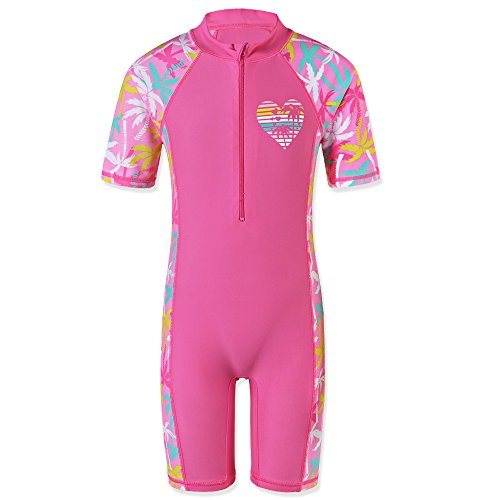 TFJH E Girls One Piece Swimsuit UPF 50+ Bathing Suits Rashguard Suits for Girl,Pink Coco Tree 104/110