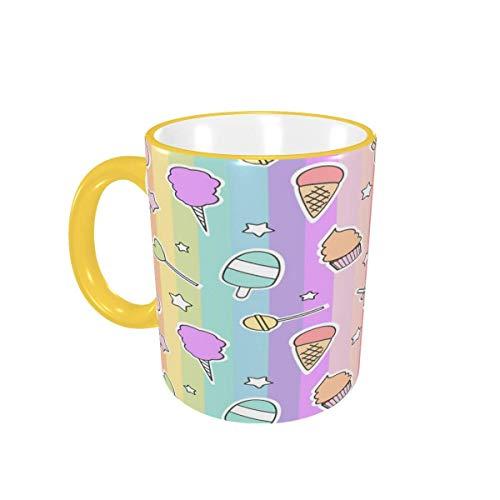 Taza de café Caramelos de Dibujos Animados Lindos Rainbow Lollipop Helado Tazas de café Tazas de cerámica con Asas para Bebidas Calientes - Latte, Cocoa, Coffee Gifts 12 oz,Sky Blue