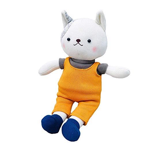 R 38 cm Woolen Puppe Kaninchen Plüschtiere Häkeln Stricken Baumwolle Fuchs Katze Kaninchen Puppe Hand Stricken Tierpuppen Paar Bunny Dolls-38cm_cat Manmiao
