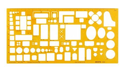 Aristo Möblierungsschablone Innenarchitekt (1:50, Darstellung von Einrichtungsplänen, formstabiler PET-Kunststoff) orange-transparent