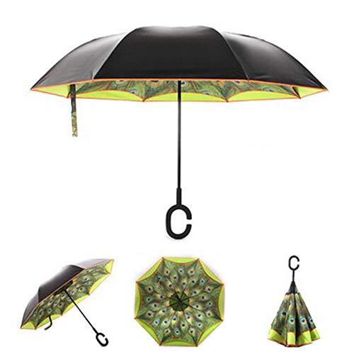 SSZZ Double Straight Rod Auto Reverse Umbrella Vinyl Sonnenschutz Sonnenschirm Inverted Travel Umbrella Wasserdicht Winddicht Taschenschirm,Grün