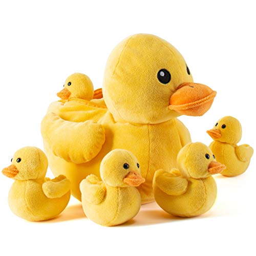 Prextex Carry Along Plush Ducky with 5 Little Plush Ducklings - 6 Piece Soft Stuffed Animals Playset